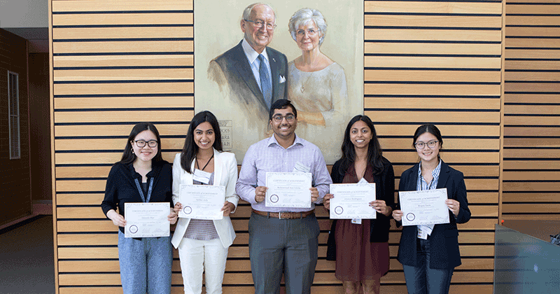 Prize winners (left to right)  Amanda Mac, Amber Jolly, Mohammad Aziz Uddin, Jessica Rodrigues and Megan Yuen